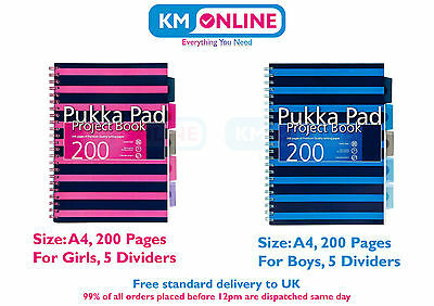 A4 Navy Blue/Pink Project Book 200 Pages 80gsm Wirobound Office/College Boy/Girl