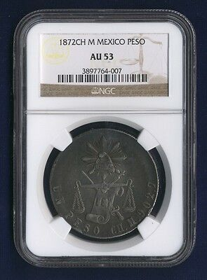 Mexico Mexico City Mint  1872-Ch-M  1 Peso Silver Coin, Certified Ngc Au-53