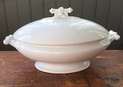 ANTIQUE Royal H. Alcock & Co IRONSTONE Covered Vegtable Dish Footed & Handless