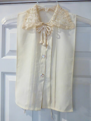 Antique Vintage Dickey Blouse Front Lace Collar Bow Cream Euc