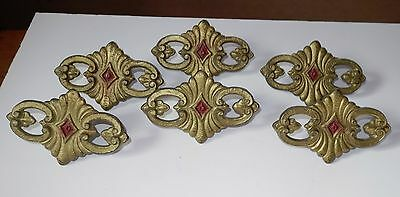 6 Matching Victorian Metal Bracket Curtains Drape Parts Tie Backs Rod Clips