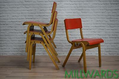 Vintage Mid Century Retro Red Tecta School Cafe Bar Chairs 30 AVAILABLE
