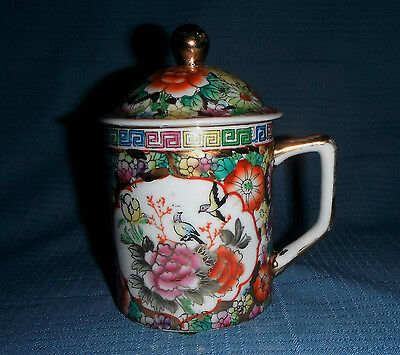 Porcelain Tea Cup & Lid Beautiful Floral Hand Painted Pattern  Made In China