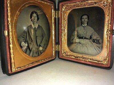 Antique Ambrotype Photographs In Double Frame Lovely Women.
