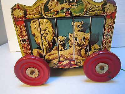 Rare Vintage -The Gong Bell Co. Lion'S Circus Wagon Pull Toy
