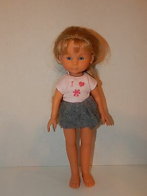 """2001 Corolle Les Cheries CAMILLE 13"""" Jointed Vinyl Doll In Tagged Skirt"""