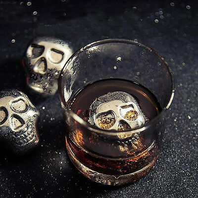 304Stainless steel skull Ice cubes Whiskey drink Cooler Wine  Appliances for Bar