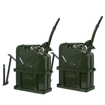2PCS Jerry Can 5 Gallon 20L Gas Fuel Army NATO Military Metal Steel Tank Holder