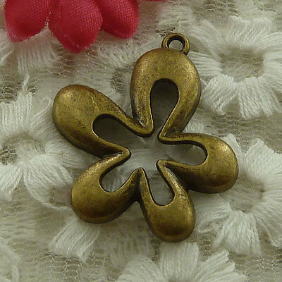 free ship 60 pieces bronze plated flower charms 33x28mm #2997
