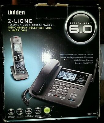 Uniden DECT4096 DECT 6.0 2-Line Cordless Phone w/Digital Answering Sys w/Call ID