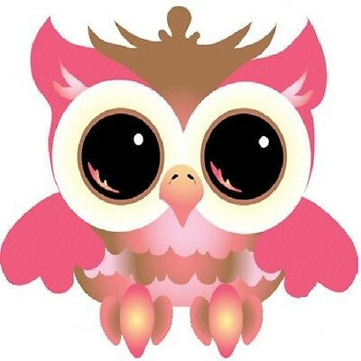 30 Custom Wide Eyed Pink Owl Personalized Address Labels