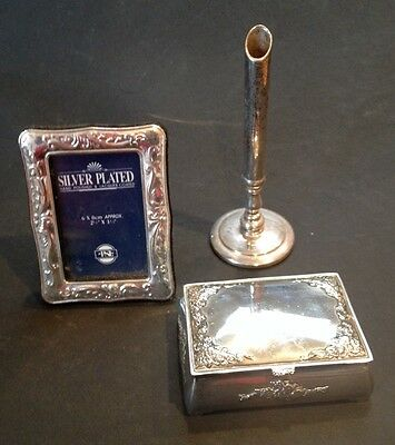 Silver Plated Photo Frame, Jewellery Box And Flower Vase - Free Postage