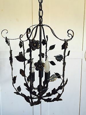 Vintage Romantic Ornamental SCROLL Iron  Lantern Lamp Lighting Floral