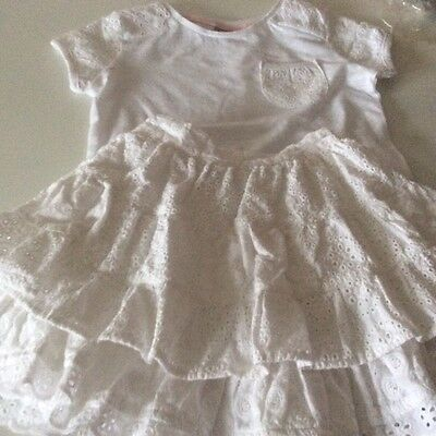 Girls white skirt and top set - age 3-4