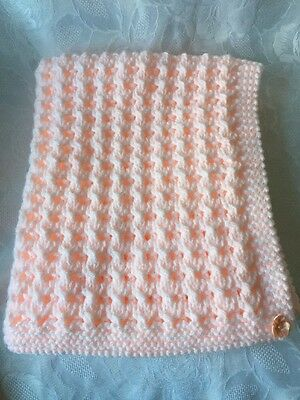 Hand Knitted Baby's  Peach and White Blanket with Peach Satin Bows 'NEW'