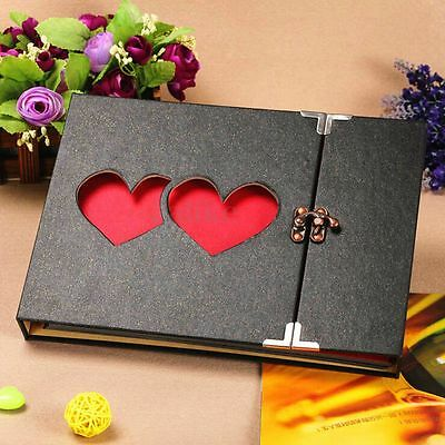 DIY 27 x 19cm Solid Cover Hollowed Heart Photo Album Scrapbook Sticker Memory