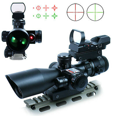 Tactical 2.5-10X40 Rifle Scope w/ Red Laser & Holographic Green / Red Dot Sight