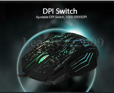 7 Bouton LED Souris USB Optique Filaire 5500DPI Gaming Wired Mouse Pro Gamer PC