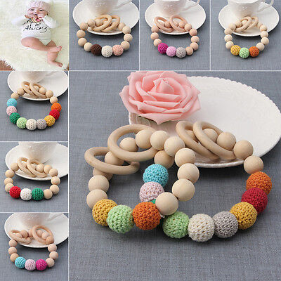Newborn Baby Kids Teething Chewie Round Wood Bracelet Mom Wooden Teether Toy