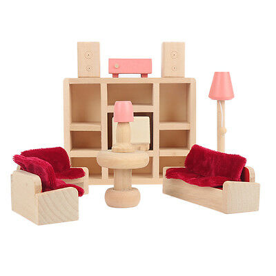 Kids Dolls House Furniture Set Miniature Wooden Family Play living room Toy Hot