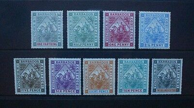 BARBADOS 1897 Diamond Jubilee Complete Set of 9. Mint HINGED. SG116/124.