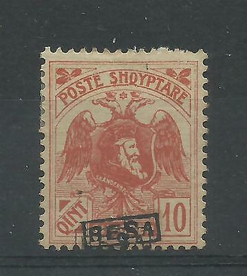 ALBANIA 1922 'BESA' on 10q, handstamp double, SG 142[see note in SG] mounted min