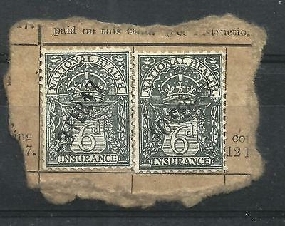 GB GREAT BRITAIN 1917 Usage of 6d National Health Insurance stamp, two, on piece