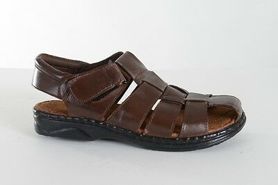 Mens Soft Leather Velcro Walking Summer Holiday Beach Mules Sandals