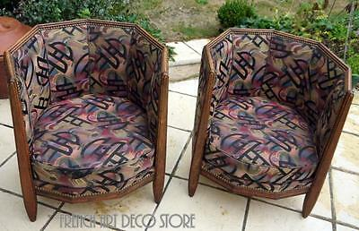"CHAREAU French Art Deco ""Cut Corner""Armchairs  c1925"