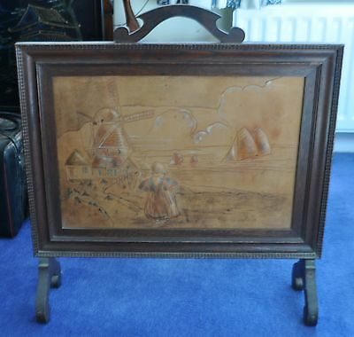 Vintage Fire screen with Dutch scene in worked leather