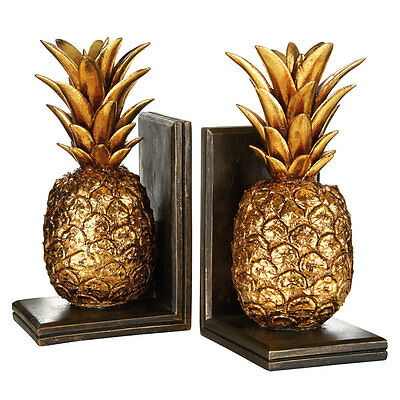 Set of pineapple bookends,polyresin,gold / brown