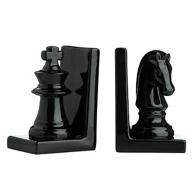 Set of 2 Chess Piece Bookends, Ceramic