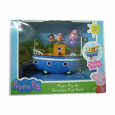 Peppa Pig Toy Grandpa Pigs Boat Push & Go Playset Fun Inc 3 Figures New Boxed