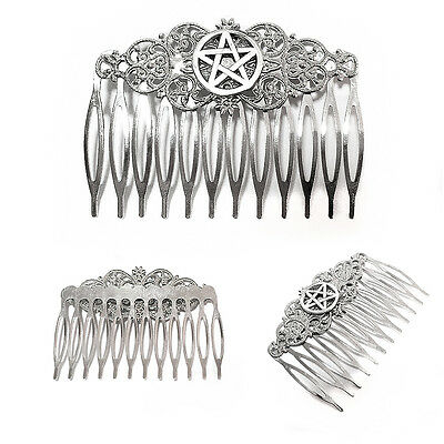 Pentacle Pentagram Silver Clip on Hair Comb Pin Witch Wicca Gothic Celtic Pagan