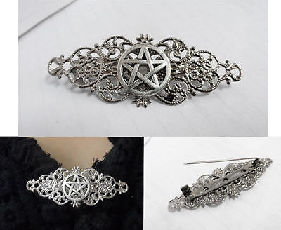 Amulet Silver Plated Pin BROOCH Pentacle Witch Wicca Gothic Pagan Celtic Wiccan