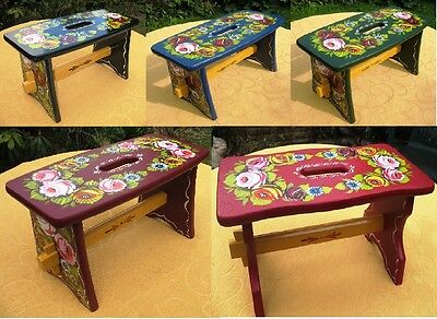 canal barge ware wooden cabin stool, decorated with roses and daisies