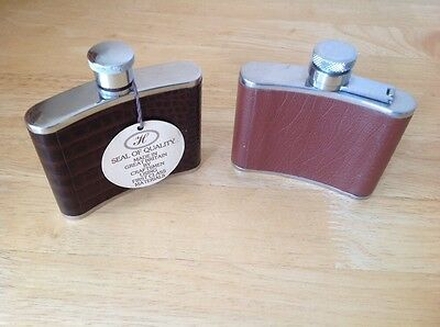 2 Vintage Hip Flasks - Stainless Steel & Leather - 4oz Capacity /Christmas Gifts