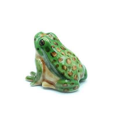 Figurine Animal Ceramic Statue Green Gold Bell Frog - CAF036