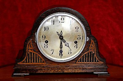Vintage Art Deco  'Enfield' London 8-Day Mantel Clock with Westminster Chimes