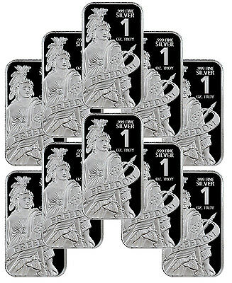 Statue of Freedom 1 oz. Prooflike Silver Bar - Lot of 10 Bars SKU44143