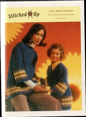 (17334) Postcard - Knitting - 4 - Play Artist Smocks For Mother and Daughter