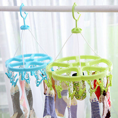 Convenient Round Design Plastic Drying Hanging Rack Laundry Clothes Supplies