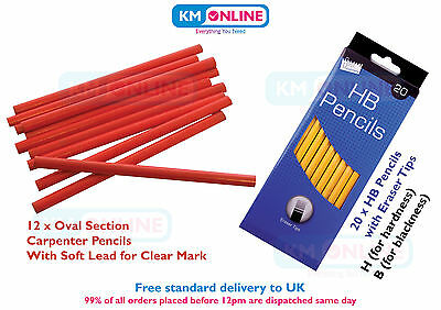 Carpenter Pencils Oval Section/HB Pencils with Eraser Tip Building Woodwork Mark