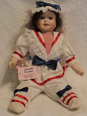 SHOW- STOPPER Porcelain doll  Sailor / AMerican Patriotic doll Sitting 13 inch