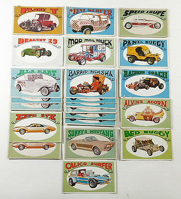Lot of (22) 1970 Topps George Barris Way Out Wheels Trading Cards