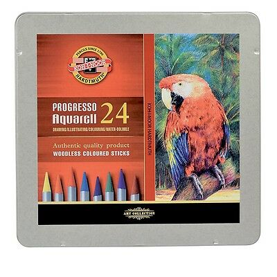 KOH-I-NOOR PROGRESSO AQUARELL WOODLESS WATER SOLUBLE PENCILS - Tin of 24 colours