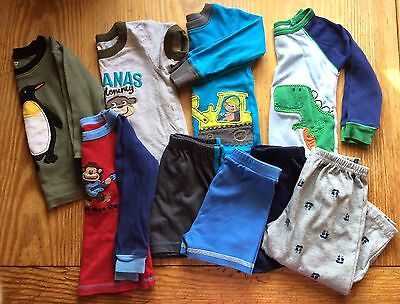 Baby Boy Mis-Matched Pajama Tops & Bottoms Lot Of 9 Pcs Size 18 Months