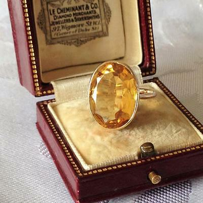 Vintage 9ct GOLD Citrine Natural LARGE Golden Yellow Fine Ring SIZE M 3/4 - 4.7g