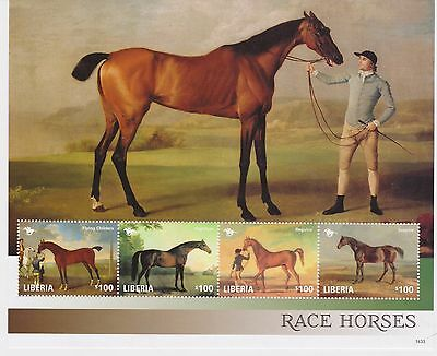 Liberia - Race Horses, 2014 - 1433 Sheetlet of 4 MNH
