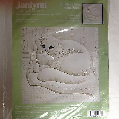"""Janlynn Candlewicking Embroidery Kit """"Cat On A Pillow"""""""